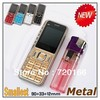 Luxury metal body mini mobile phone Unlocked Dual SIM card cheap gold bar cell phones Russian keyboard available Free shipping
