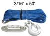 "3/16"" x 50' Synthetic Winch Rope 3000 4000 5000Lbs ATV UTV Blue & HOOK & HAWSE"