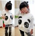 New 2014 girl clothing set, fashion girls Panda T shirt+striped leggings 2pc set, cotton  Children Clothing Free Shippinghipping