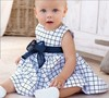 Baby Toddler Girl Kids Cotton Outfit Clothes Top Bow-knot Plaids Dress 0-3 Years Baby girls dress children's clothes white blue