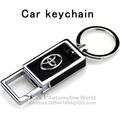 Car metal leather keychains key rings for  toyota corolla camry avensis rav4 yaris hilux Auris prius prado