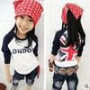 Free shipping,Spring children's long sleeve T shirt,Cotton T-shirt Union Jack shirt bottoming TZ18A48