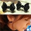 Western Fashion Simple Black Butterfly Bow Earrings Wholesale XY-E6