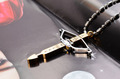 2014 Fashion Men 316l Stainless Steel Cross Choker Archery Necklace Gold Bow and Arrow Metal Pendant Jewelry