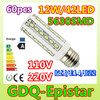 Free shipping 60x 12W 42LED 5630 SMD E27 E14 B22 Corn Bulb Light Maize Lamp LED Light Bulb Lamp Warm/Pure/Cool White