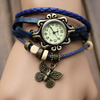 Fashion High Quality Cow Leather Strap Casual Vintage 2014 Womens Knitted Leather Butterfly Watches Womens Dress Watches