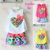 [ Bear Leader ]Free Shipping Girls set love  child sleeveless T-shirt and flower shorts new 2014 summer girls clothes ATZ045