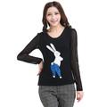 Women Lovely Plus Size XL-4XL Black Long Sleeve Gauze Tshirt Free Shipping d5387