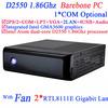 mini itx pc barebone system with Fan dual gigabyte lan COM LPT Intel Atom dual-core D2550 1.86GHz processor NM10 Express Chipset