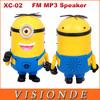 Hot Sales XC-02 New Devise Good Quality Minions Mini Portable Speaker USB Fm Radio Speakers For Phone Computer - Yellow