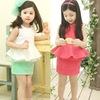 Hu sunshine Retail new 2014  girls white green ruffles sleeveless t-shirt + skirt clothing set kids summer kids clothes sets