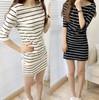 2014 Summer Women's Korean Stripe Sexy Mini-dress Half Sleeve O-neck Dresses Girls Fashion Casual Dress WD088