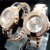 Women dress watches Fashion Rose Gold Tone Crystal Watch Women Ladies Crystal Dress Quartz Wristwatches TW036
