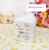 Hot sale! 48pcs White Color Cute Laser Cut Square Candy Bomboniere Box Baby Shower Wedding Bridal Favor Gift
