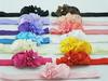 baby girl headbands Multi-Colored mini rose with satin ribbon flower Sparkling Rhinstones center Elastic headband 3pcs/lot