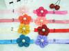 wholesale--Baby Elastic headband with 2inch Chiffon flower with pearl center,flower headband 16pcs/lot