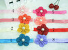 wholesale--Baby Elastic headband with 2inch Chiffon flower with pearl center,flower headband 8pcs/lot