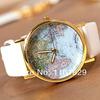 Hot Sale christmas gifts Retro World Map Watch Fashion Leather Alloy Women Casual Analog Quartz Wrist Watch items freeshipping