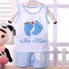 Children clothing 100% cotton vest set baby sleeveless twinset baby cartoon set vest  pants five colors 80 90 95cm freeshipping