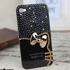 Cute 3D Bow Hello Kitty Pearl Bling Diamond Case For iPhone 5 5G 5S Luxury Crystal Rhinestone Phone Cases.