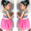 New Style #Summer Girl Puffy dress Dancing clothing Princess Tutu Dress Rainbow striped dress Kids clothing