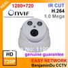 Factroy price IP Dome camera720P ONVIF HD IR IP CAMERA 1.0 Megapixel IR CUT Outdoor security surveillance camera free shipping