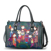 Europe style fashion elegant genuine leather modern girl print figure handbag cowhide shoulder bag women messenger bag S165A
