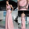 DORISQUEEN 30529 Free shipping promotion 2015 cheap one shoulder Princess long beaded belt pink celebrity formal evening dresses