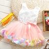 Free shipping new 2014 summer girls dress, girls rose petal hem dress color cute girls vest dress 1-5 years
