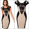Bandage Dress 2014 New Crochet Women Elegant Embroidery Bodycon Dresses Patchwork Autumn Casual Lace Dress