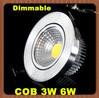 10pcs COB 3W 6W Led Downlight Dimmable Led Ceiling light High Power AC85-265V 600Lumen Ultra Bright Led Bulb