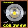 1pcs Dimmable Recessed Led Downlight COB 3W 6W Led Spot light Led Ceiling Lamp +Transformer AC110V-240V