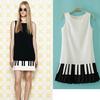 S-L New 2014 European and American Women's Round Neck Tank Dress piano keys hit color sleeveless dress 2colors.Black ,White#X308
