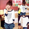 New 2014 T Shirt For Women Fashion Cotton Tops Owl Printed Half-Sleeve T-shirt Casual Shirt Plus Size S/M/L/XL/XXL