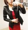 2014 women's fashion elegant diamonds slim Simple Leather jacket coat Free shipping high quality 1P3