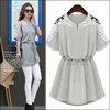 M-5XL Fashion Dresses New 2014 Summer Ladies Vintage White/Gray Hook Flower Plus Size Lace Dress Casual Slim Women Clothing