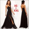 Sexy Dresses 2014 New Women V-neck Double Layer Spaghetti Strap Black Jag Chiffon Splicing Alluring Party Maxi Dress