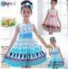 Free shipping 2014 Kids Girls Dress cute peacock color sleeveless princess dress circle Korean Fashion children's New clothing