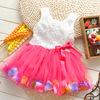 1pcs retail  2014 summer girls dress rose petal hem dress color cute girls vest dress 2-5 years children's apparel