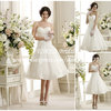 Vogue Pleat Corset Sweetheart Tea Length Short Wedding Bridal Dress Lace Hem DR282