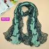 Top quality popular fashion printe print design lace hijab chiffon viscose long shawls/scarves.180*90cm.5pcs/lot.