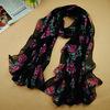 hot!!!good quality Autumn and Winter women's chiffon printe flower floral head hijab long scarf/scarves.180*90cm.10pcs/lot.