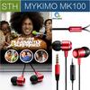Original MYKIMO MK100 3.5mm In-ear high Quality Super Clear Noise Metal heavy bass headphones, mic & china Brand earphones