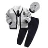 2015 Hot Sale Boy Clothing Sets Stripe Coats School Style Boys Suits With Strip Cap And Navy Pants Children Apparel