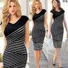 HOT SALE! 2014 Autumn Summer Fashion Women's Black And White Striped Dress Star Style Female Slim Print Pencil Dresses