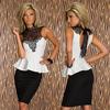M L XL Plus Size new fashion summer women's Lace high-necked dress stitching lotus leaf dress clubwear dress #DW003