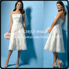 Semi Formal Appliques Strapless Short Lace Wedding Dress Tea Length TWX018