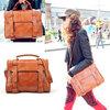 New Vintage Korean Fashion Womens's Briefcase Messenger Bag PU Leather Handbag Shoulder Bag XB248