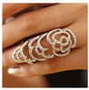 T2015 Hot Sale Gorgeous Ring with Shaped Bezel Setting Lot of Rhinestone with Double Ring Fashion Ring