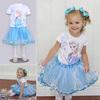 5pcs/lot Wholesale frozen dress set girl dresses short sleeve princess dress clothing sets